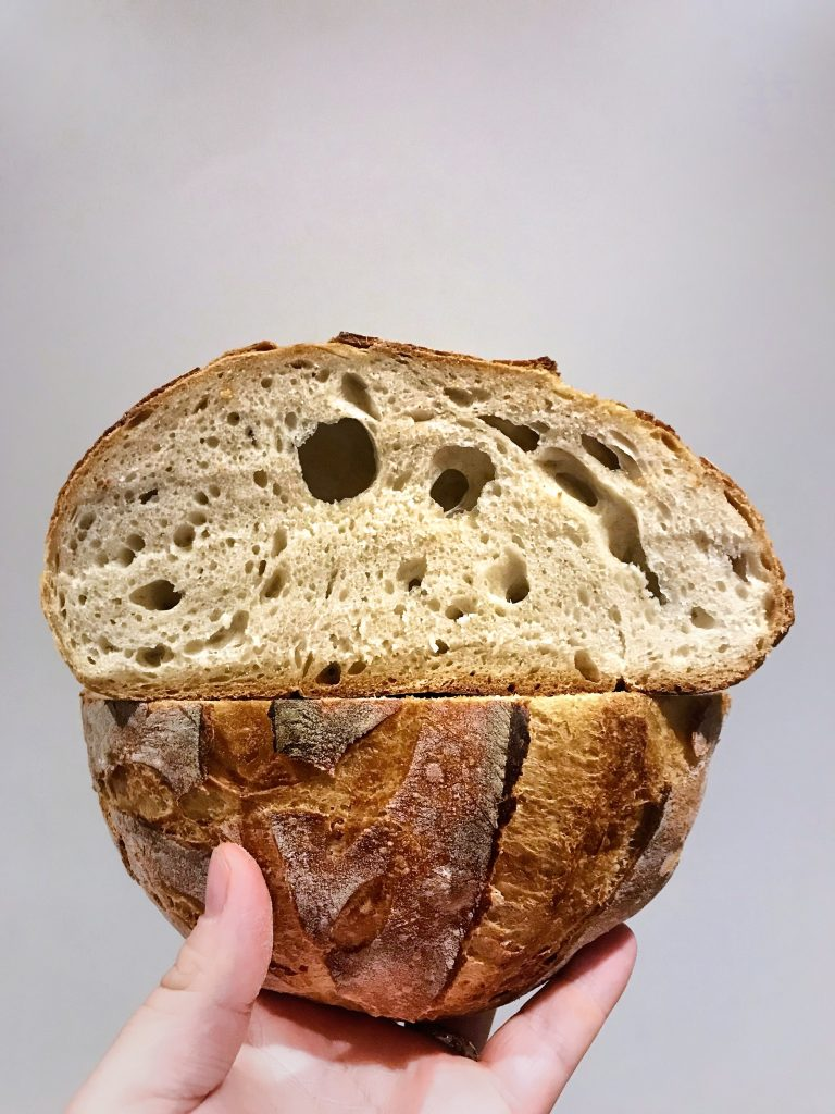 Cross-section of sourdough loaf